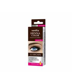 HENNA COLOR Professional EYEBROWS & EYELASHES Color Gel Keratin Care Brown 3.0
