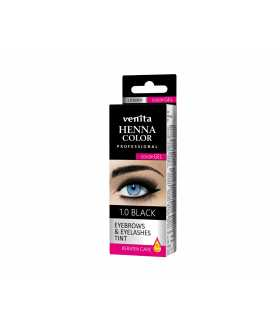 HENNA COLOR EYEBROWS & EYELASHES Color Gel Keratin Care Black 1.0
