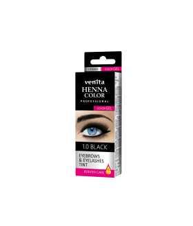 HENNA COLOR Professional EYEBROWS & EYELASHES Color Gel Keratin Care Black 1.0